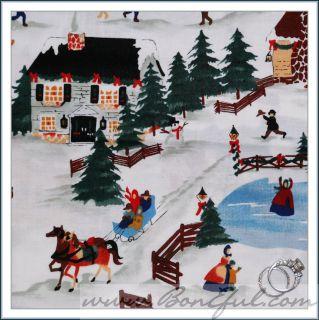 Alexander Henry Scene Ice Skate Xmas House Farm Tree Santa Reindeer