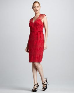 T5LY0 Kay Unger New York Lace V Neck Tie Back Dress