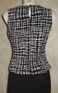 Calvin Klein Black White Jersey Top Blouse Sz XS $30
