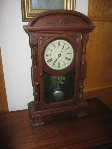 THIS IS A RARE CIRCA 1885 SETH THOMAS HECLA PARLOR CLOCK THAT FEATURES