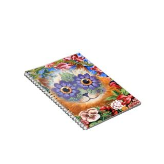 Vintage Louis Wain Flower Cat Art Notebook