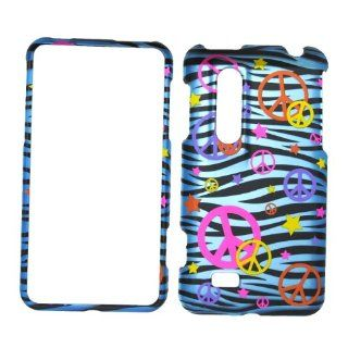 Colorful Peace Sign on Blue Zebra Rubberized Snap on Hard