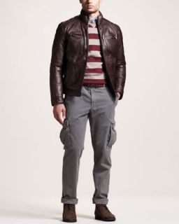 3YVP Brunello Cucinelli Rugby Stripe Sweater, Oxford Shirt & Basic