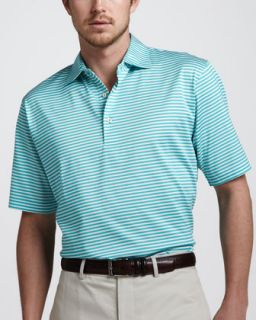 N22RA Peter Millar Classic Fit Striped Polo, Salt Water/White