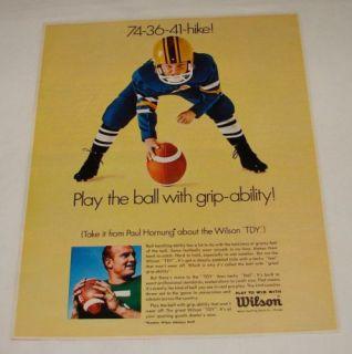 1967 Wilson football ad ~ PAUL HORNUNG ~ Packers