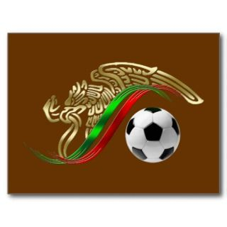 Mexico el Tri soccer ball Mexican futbol flag bola Post Cards
