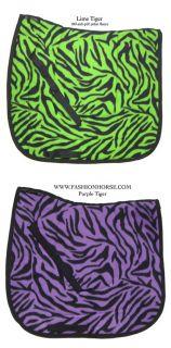 Animal Print Purple Tiger Zebra Dressage Saddle Pad Novelty