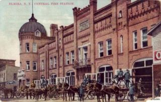 NY Central Fire Station Horse Drawn Wagons Fire Equipment 1911