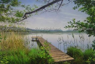 Original Landscape Oil Painting Paintings Canvas Serene Lake View