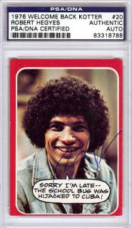 Welcome Back Kotter Robert Hegyes Auto Signed 1976 Topps Card PSA DNA