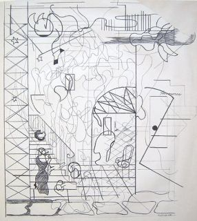 Hilaire Hiler Signed 1937 Original Crayon Drawing