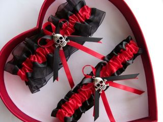 Free SH New Red Black Harley Motorcycle Wedding Garter