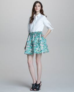 short sleeve blouse a line floral print skirt $ 295 395