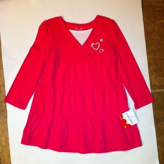 Baby Girl Toddler Hot Pink Hearts Dress JUMPING BEANS Size 3T Easter