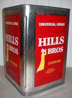 Older Hills Bros Coffee Large 14 Tin Store Bin $25 00