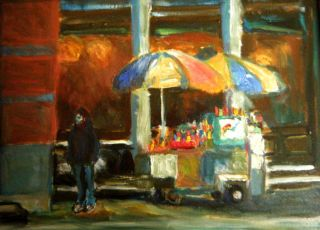 Hot Dog Stand New York Original Oil Canvas Framed Painting Signed COA