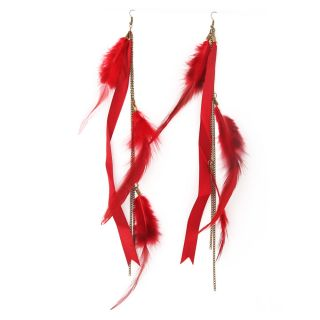 Hot Fashion Feather Ribbon Long Chains Fringes Dangle Chandelier