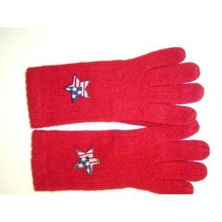 G242, Red Angora Wool Gloves Trimmed with Star American