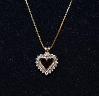 10K Yellow Gold 4 tcw Diamond Heart Pendant 1 6g with 14k 18 Chain 2