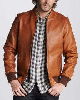 Andrew Marc Rugged Leather Bomber Jacket