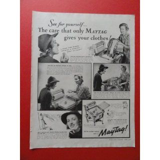 1938 Maytag washer, print ad(woman washing)original