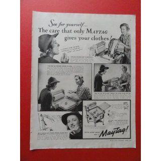 1938 Maytag washer, print ad(woman washing)original
