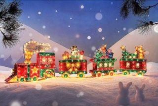 480 Lights Polar Express Train Outdoor Christmas Decor