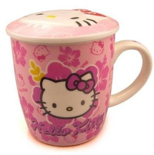1X Hello Kitty Cartoon Ceramic Coffee Cup With Lid pink A1 300ml