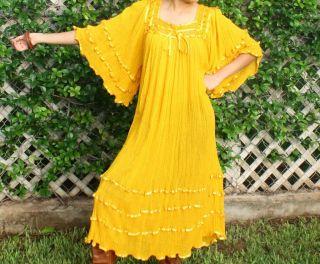 Hippie Gauze Crochet Dress Mexican Dress 60s Retro Angel Dress