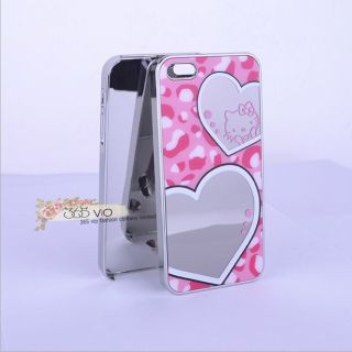 Pink Cute Hello Kitty Mirror Style Hard Plastic Case Cover for iPhone