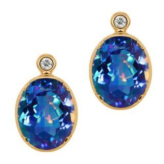 62 Ct Oval Millenium Blue Mystic Quartz Topaz Gold Plated Silver