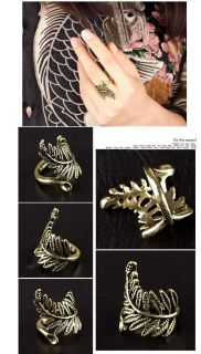 Fashion Hot Vintage Rock Punk Hollow Leaves Copper Stylish Ring