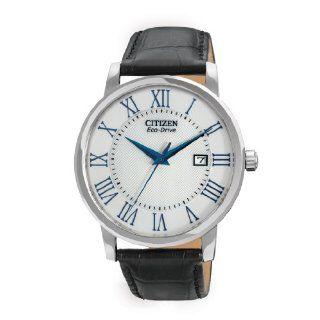 Citizen Mens BM6758 06A Eco Drive Black Leather Strap Watch Watches