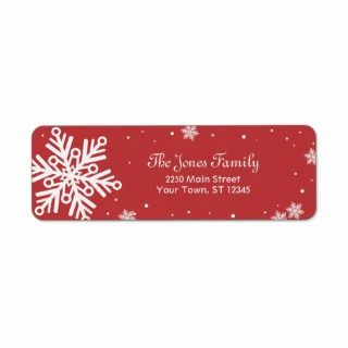 Snowflake Return Address Label   Red