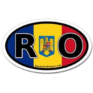 Romania RO Flag Car Bumper Sticker Decal Oval