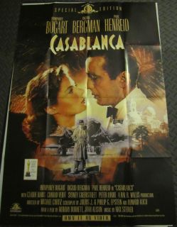 Movie Poster 27x40 Humphrey Bogart Ingrid Bergman Paul Henreid