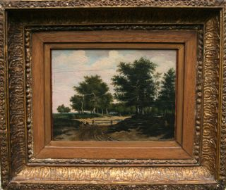 Dutch Panel Landscape Antique Oil Painting Art Ruisdael Hobbema