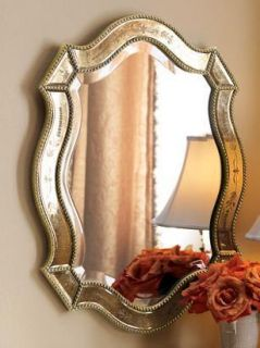Felicie Wall Mirror Oval Gold Accents Venetian Home Decor New