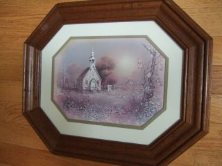 HOME INTERIOR OCTAGON WOOD FRAME WITH CHAPEL PICTURE W FENCE