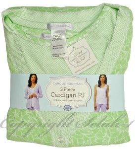 New Carole Hochman 3 PC Tank Shirt Cardigan Pants Pajama PJ Set Green