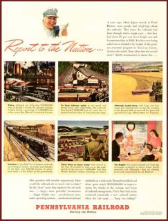 1942 Pennsylvania Railroad Wartime Report to Nation Ad