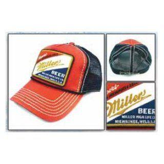 Miller Beer Alcohol Hat   Red Patch Trucker Adjustable Cap