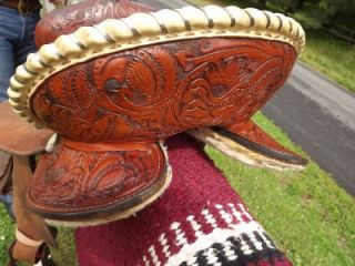 14.5 Seat Used Tex Tan Hereford Brand Barrel Racing Saddle, Tooled