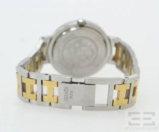 Hermes Stainless Steel & Gold Plated Clipper Classique PM Watch