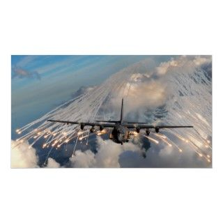 An Air Force Ac 130 fires flares commonly used to decoy heat seeking