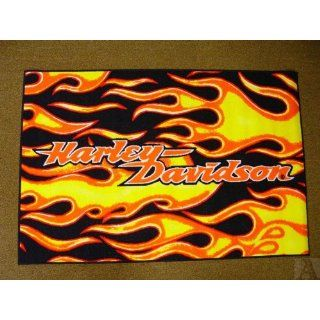Harley Davidson Motorcycle Flames Throw Area Rug Indoor