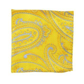 100% Silk Woven Yellow Gold Cameron Paisley Pocket Square