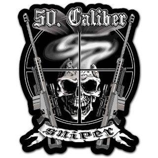 50. Caliber Sniper Skull Guns Rifle Car Bumper Sticker