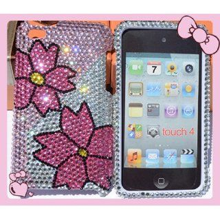 Twin Pink Flower Design Apple Ipod Touch 4 4th GEN Rhinestones Crystal