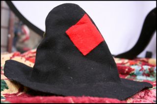 Vtg Halloween Costume Felt Hillbilly Hat Hobo Patch XS s Wool Felt Bum